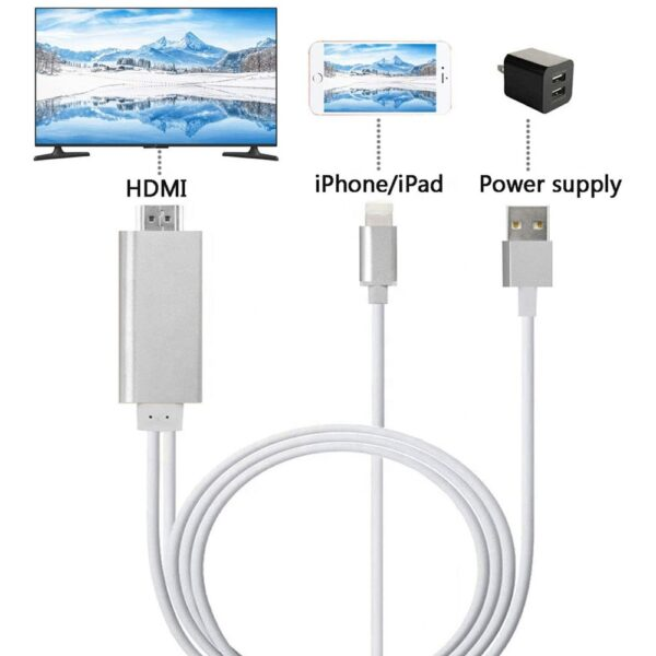 Connect iPhone iPad to TV, Lightning to HDMI adapter cable