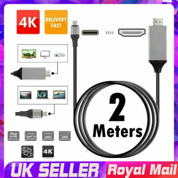 USB-C Type C to HDMI Cable 4K HD TV Converter Adapter For Samsung Huawei Macbook